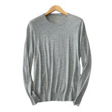 Suéter de la cachemira de los hombres O cuello mangas largas 12GG suéter que hace punto del cable suéteres casuales del color sólido