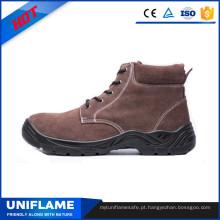 Sapatos de segurança de trabalho de couro de camurça marrom aço sola Ufb028