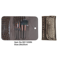 5pcs coffee brown plastic handle animal/nylon hair makeup brush tool set with snack skin pu leather purse