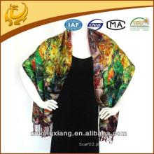Cópia digital de dupla camada de lenço feminino e estolas de seda escovadas com borla