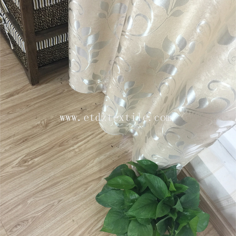 JACQUARD LEAF CURTAIN FABRIC