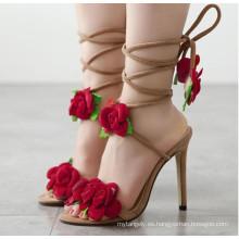 Rose Straped Lace Slippers Sandalias de tacón alto para mujer