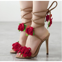 Rose Straped Lace Slippers à talons hauts Sandales pour femmes