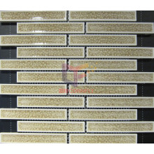Beige Grossy Ceramic Cracked Effect Mosaic Tiles (CST159)