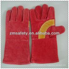 Guantes de soldadura reforzados rojos con piel de vacaJRW33