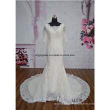 Short Sleeve Champagne Color Mermaid Train Wedding Dress Bridal Gown