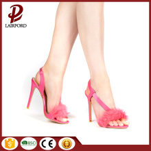 cone-heel fashional stylish sandals with pink fur