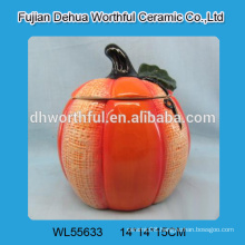 Decorative pumpkin shaped ceramic containers for 2016 halloween gifts