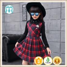 Treliça roupas de inverno meninas grade vestidos crianças outfits legal grating vestidos roupas de nylon quente roupas de inverno moda crianças