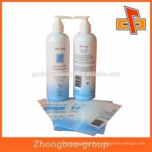 Etiqueta de la botella plástica de la impresión de la buena calidad estupenda para la crema del cuidado de la piel