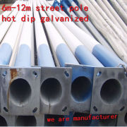 hot dip galvanized pole/galvanized poles for carport/ octagonal street light poles manufacturers in china