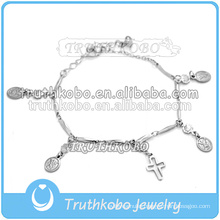 catholic rosaries bracelet stainless steel religious charm simple design christian bracelet 2016 dongguan factory