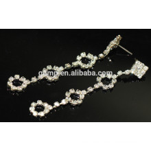 Großhandels-schöne silberne lange hängende Kristallbolzen-Ohrringe