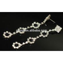Wholesale Beautiful Silver Long Hanging Crystal Stud Earrings