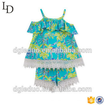 2017 wholesale 2 pieces baby clothing outfit ruffle summer children dress cute kid clothes