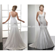 WD0053 broche de pérolas de cetim em um ombro com corpete corpino drapeado sereia saia couture vestidos de noiva