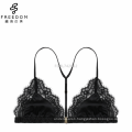 Summer comfortable wireless satin and lace ladies front open beautiful triangle sexy bra design bralette