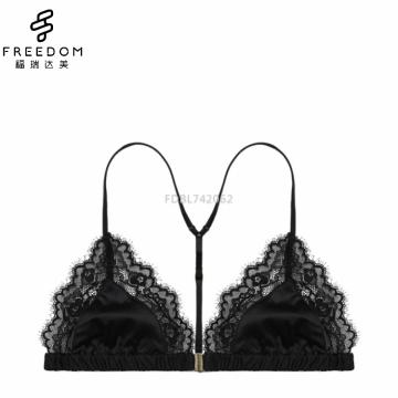Verano cómodo satén inalámbrico y damas de encaje frente abierto hermoso triángulo sexy sujetador diseño bralette