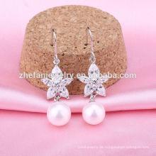 Silber 925 Ohrringe der Art und Weiseperlenohrringe Art und Weise 925 Silberhaken-Perlenohrringe