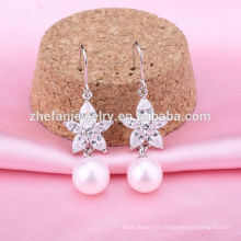 Pureté argent 925 boucles d'oreilles mode perle boucles d'oreilles mode 925 crochet d'argent perle boucles d'oreilles