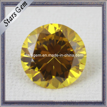 AA Brillante forma redonda de oro amarillo CZ piedras preciosas para la joyería