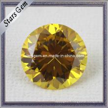 AA Brilliant Round Shape Gold Yellow CZ Gemstone pour bijoux