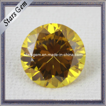 AA Brilliant Round Shape Gold Yellow CZ Gemstone for Jewelry