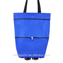 Plain Trend Hot Sale Supermarket Shopping Bags With Wheels Women Shopping Bags Folded