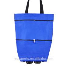 Sacos de compras quentes do supermercado da venda da tendência lisa com os sacos de compras das mulheres das rodas dobrados