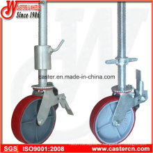 Roulette à roulette pivotante à échafaudage réglable avec frein