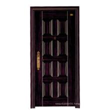 Black Walnut Design Deep Embossing Panel Steel Security Door