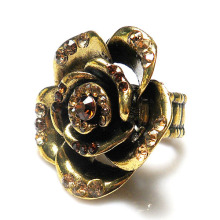 New Fashion jewelry metal rose flower finger ring for women topaz crystal rhinestone stretch girl rings