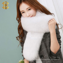 Femme Mode Luxe Real Finland Chunky Fox Fur Long Écharpe