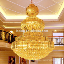 Large Empire Golden Flush Mount Commercial Crystal Chandelier Light