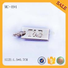 MC494 etiqueta grabada de encargo de la joyería para la pulsera, placa de la joyería del metal de guangzhou hecha