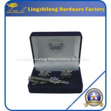 Caja de terciopelo de encargo de la mancuerna y del lazo para el regalo