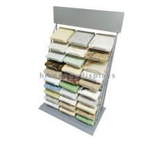 Contador de piedra Material de venta al por menor Tienda Showroom Display Custom 3-fila 30 piezas Metal Tile Rack