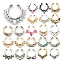 Neue heiße Verkaufs-Kristall-Fälschungs-Nasen-Ring-Band-Nasen-Ringe gefälschte Septum-Piercing Aufhänger-Klipp auf Körper-Schmucksachen