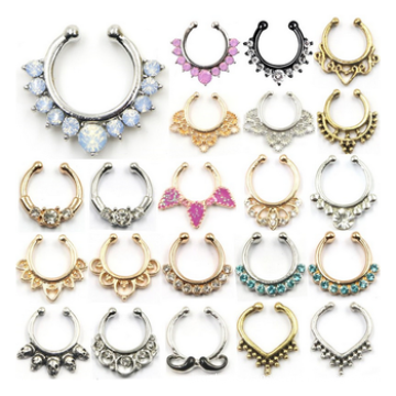 New Hot Sale Crystal Fake Nose Ring Hoop Nose Rings Fake Septum Piercing Hanger Clip On Body Jewelry