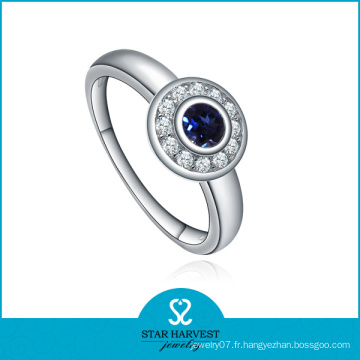 Bijouterie en saphir bleu argenté de forme ronde de haute qualité (SH-J0015R)