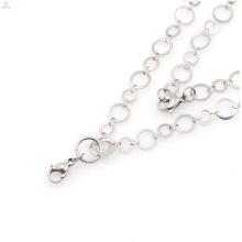 colar de imitação de cadeia longa de prata, colar de correntes de tungstênio