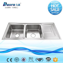 IRAN HOT SALE COUNTERTOP INOX DOUBLE BOWL FREGADERO DE COCINA DE ACERO INOXIDABLE CON DRAIN BOARD
