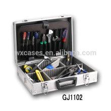 Caja de herramientas de aluminio portátil con plataforma plegable herramienta y compartimientos ajustables dentro de