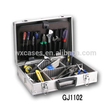 Portable Aluminum Tool Box With Fold-down Tool Pallet And Adjustable Compartments Inside