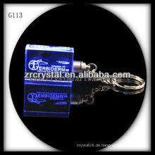 LED-Kristall-Schlüsselanhänger mit 3D-Laser graviert Bild innen und leer Kristall Schlüsselanhänger G113