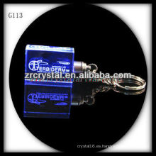 Llavero de cristal LED con imagen 3D grabado en el interior y llavero de cristal en blanco G113