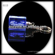 Chaveiro de cristal LED com imagem 3D gravado a laser dentro e em branco chaveiro de cristal G113
