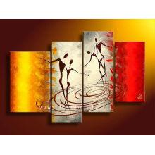 Pintura a óleo decorativa do dançarino de 4 painéis