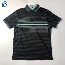 black with light cyan stripes uniform polo shirts