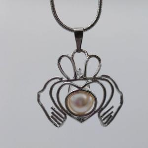 Crown Pearl Cage Pendant with Silver Plated
